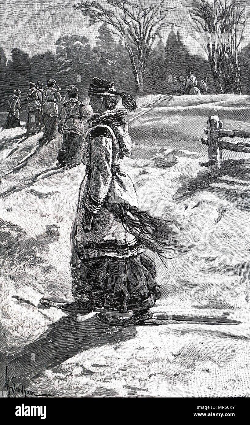 Abbildung: Darstellung einer Frau, einem Spaziergang im Schnee in Kanada. Vom 19. Jahrhundert Stockbild