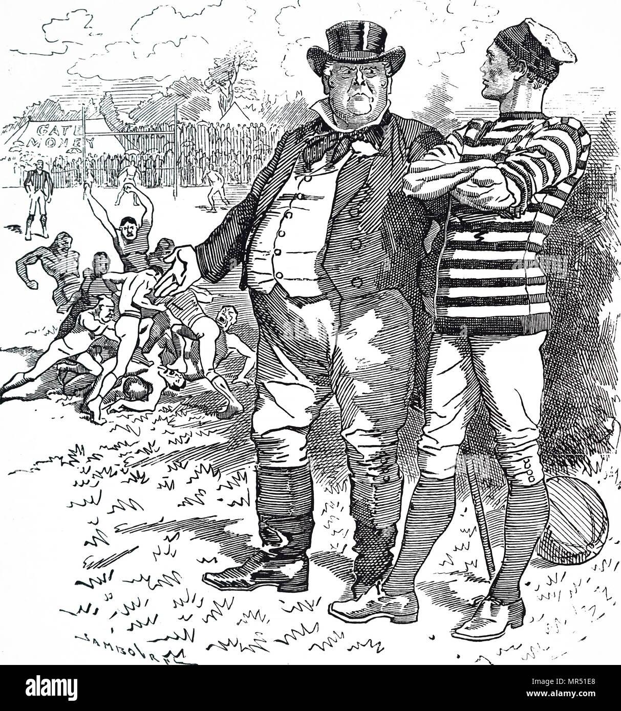 Cartoon, John Bull die Rugby Football Association mahnend für die Rauheit Ihres Spiels. John Bull ist eine Nationale Personifikation des Vereinigten Königreichs im Allgemeinen und Deutschland im Besonderen, vor allem in politischen Karikaturen und ähnliche graphische Werke. Vom 19. Jahrhundert Stockbild