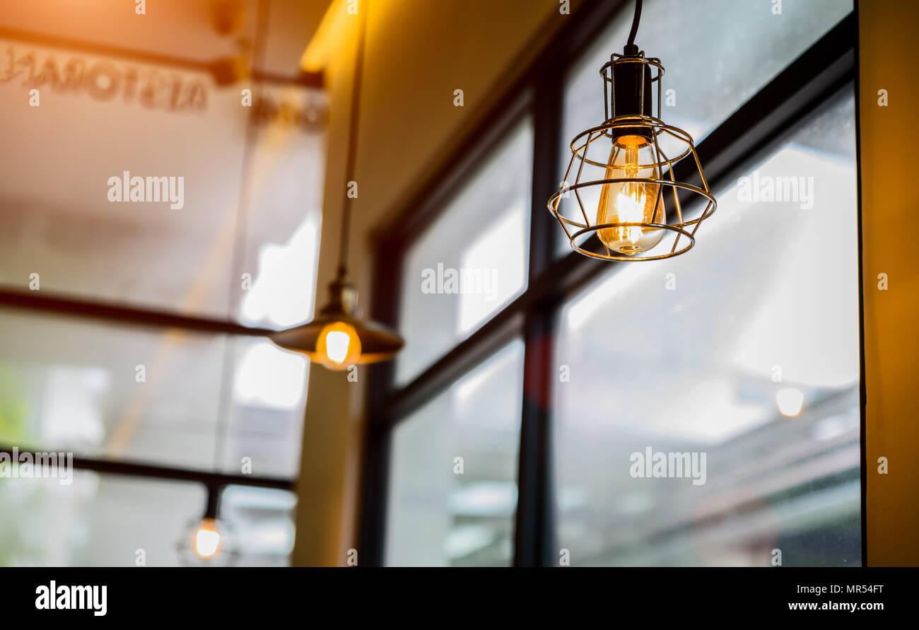 Closeup Vintage Oder Retro Deko Lampe Im Restaurant Stockfoto Bild