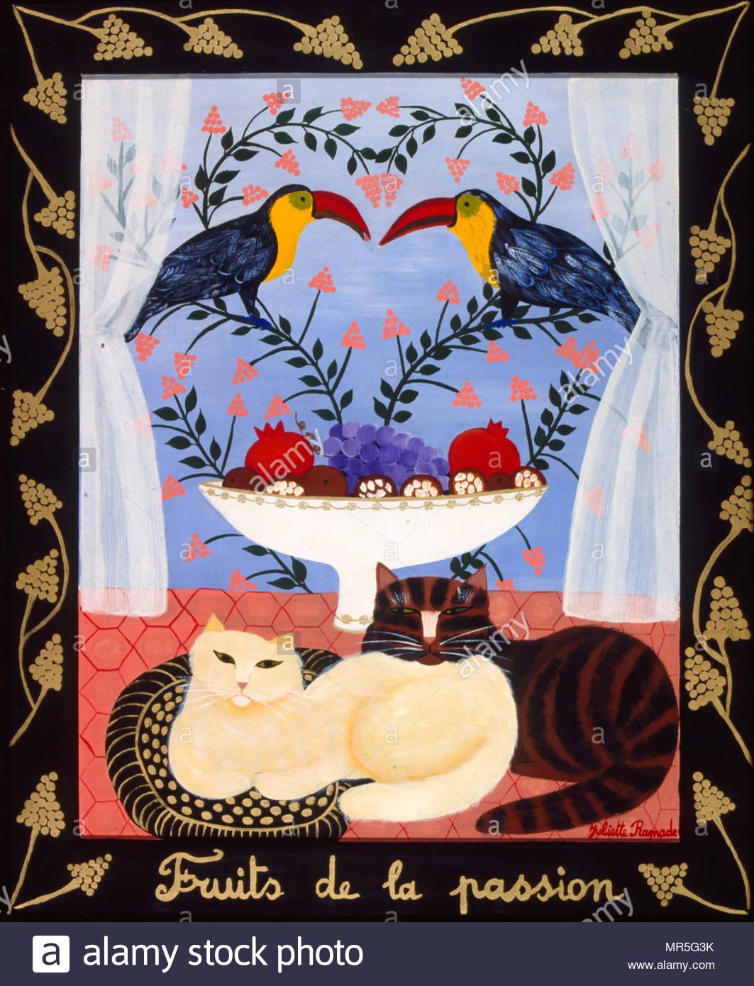 Malerei von Katzen Tukane und Obst, 1983 von Juliette Ramade Stockbild
