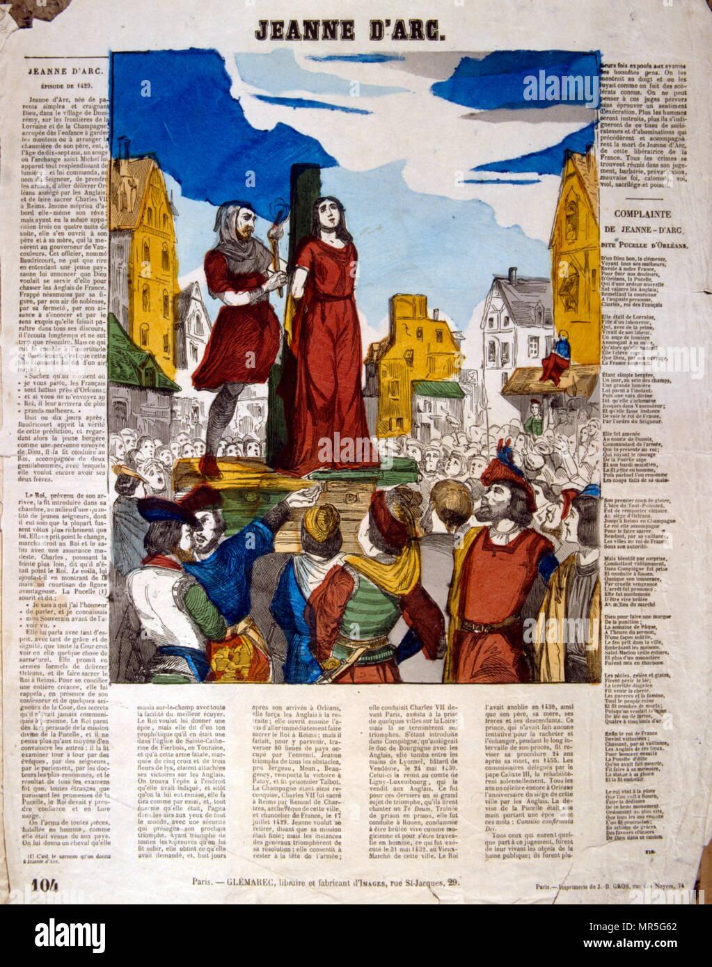 """Französisch 19. Jahrhundert Abbildung: Ausführung von Jeanne d'Arc (C. 1412 - 1431); mit dem Spitznamen """"die Jungfrau von Orléans"""" (Französisch: La Pucelle d'Orléans); wird als Heldin von Frankreich für ihre Rolle während der lancastrian Phase des Hundertjährigen Krieges und wurde als Römisch-katholische Heilige heilig gesprochen. Stockfoto"""