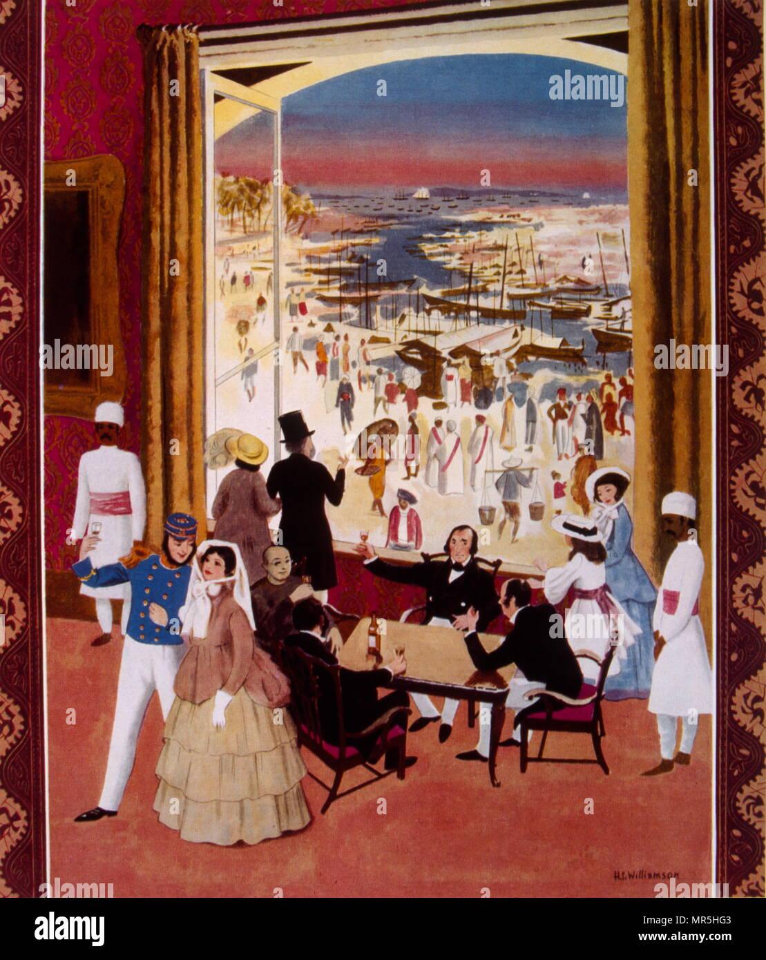 Abbildung: Darstellung des britischen Handels- und kolonialen Präsenz in Singapur in der Mitte des 19. Jahrhunderts. Cognac Hennessy Werbung, 1938 Stockbild
