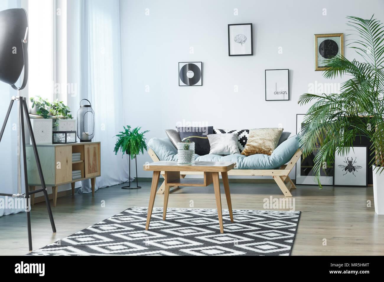 Scandi Teppich Im Klassischen Wohnzimmer Mit Pflanzen Poster Und