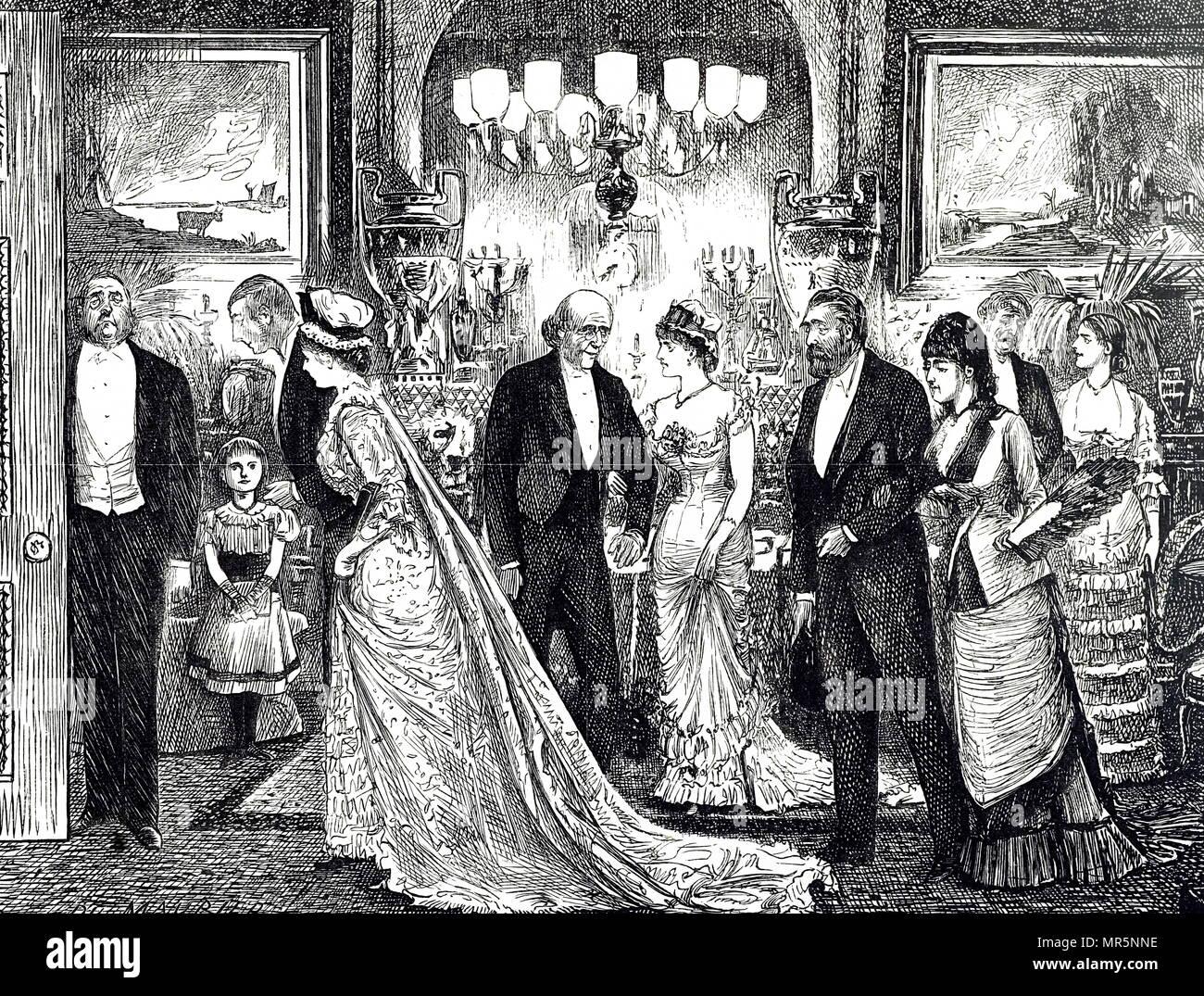 Cartoon, einem eleganten Soirée in einem viktorianischen Haus. Mit Ill. von George Du Maurier (1834-1896) eine französisch-britische Zeichner und Autor. Vom 19. Jahrhundert Stockbild
