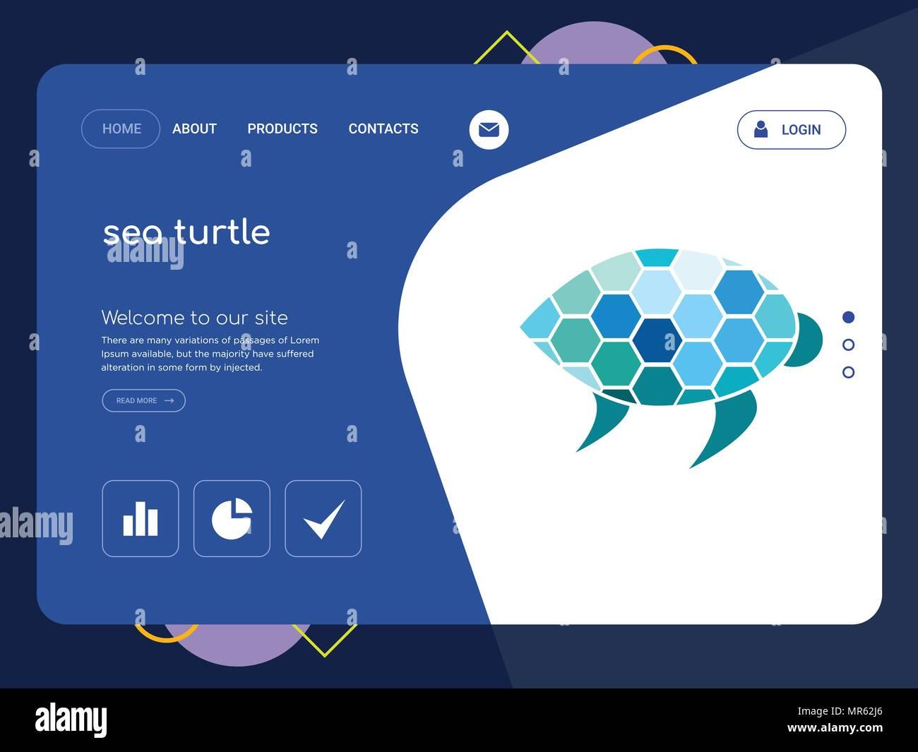 Die Qualitat Einer Seite Sea Turtle Website Template Vector EPS Moderne Web Design Mit Flachem UI Elemente Und Landschaft Illustration Ideal Fur Landing
