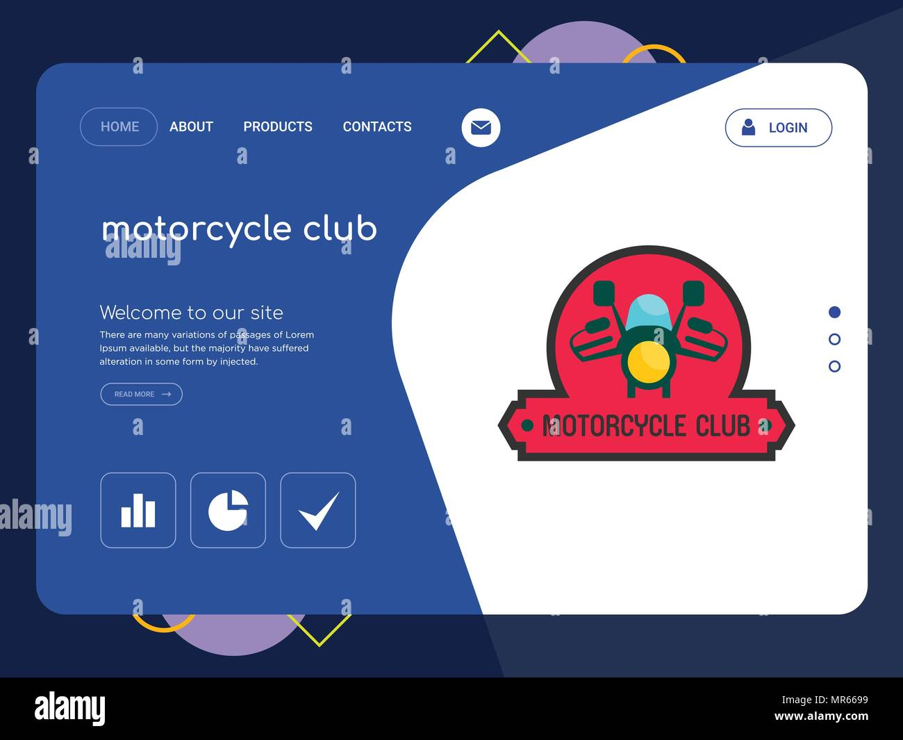 Die Qualität einer Seite Motorrad Club Website Template Vector EPS ...