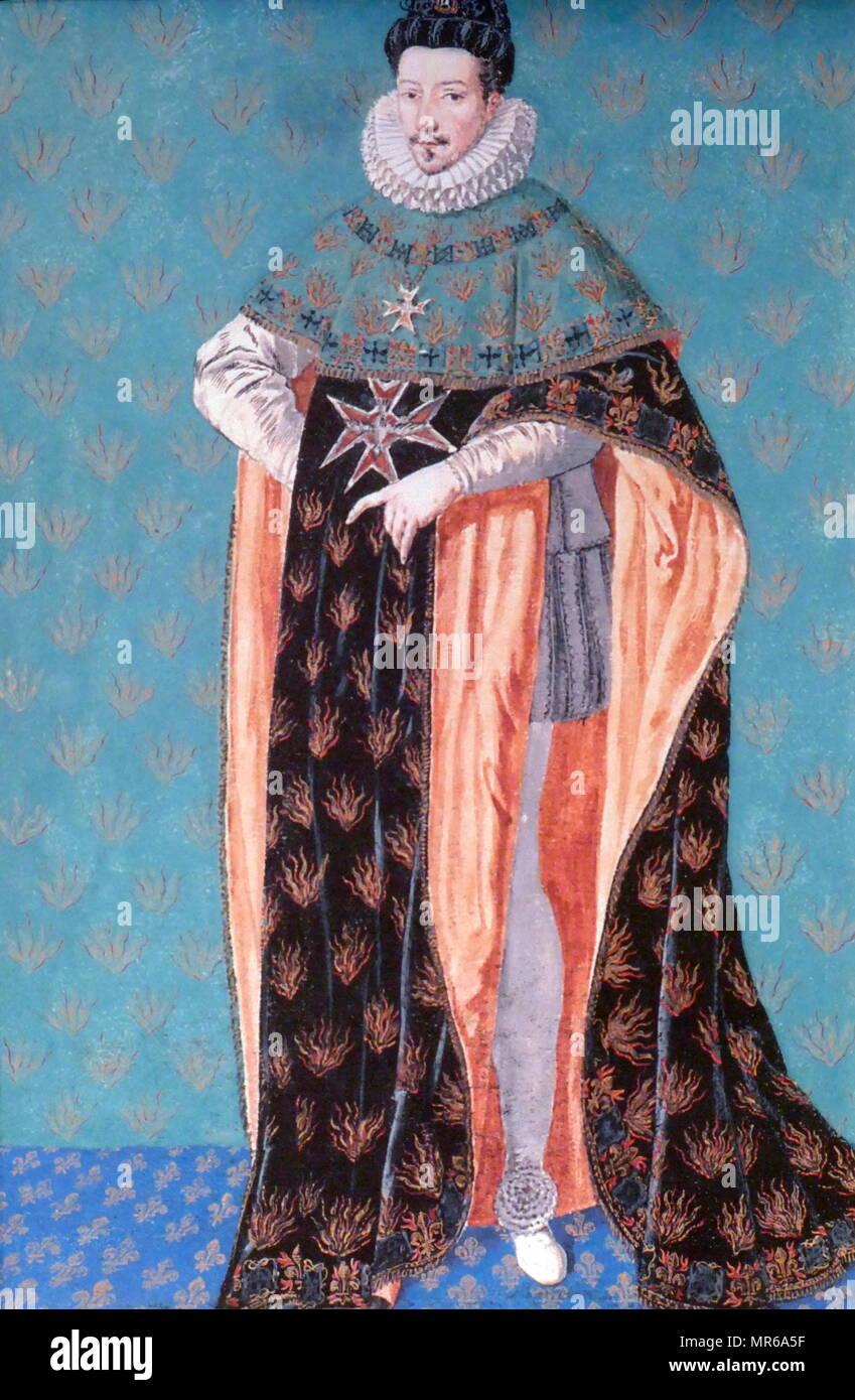 Malerei; französische Schule 1610-1620. Porträt von König Henri de Valois. Henry III (1551-1589; König des polnisch-litauischen Commonwealth von 1573 bis 1575 und der König von Frankreich von 1574 bis zu seinem Tod. Er war der letzte französische Monarch aus dem Haus Valois. Stockbild