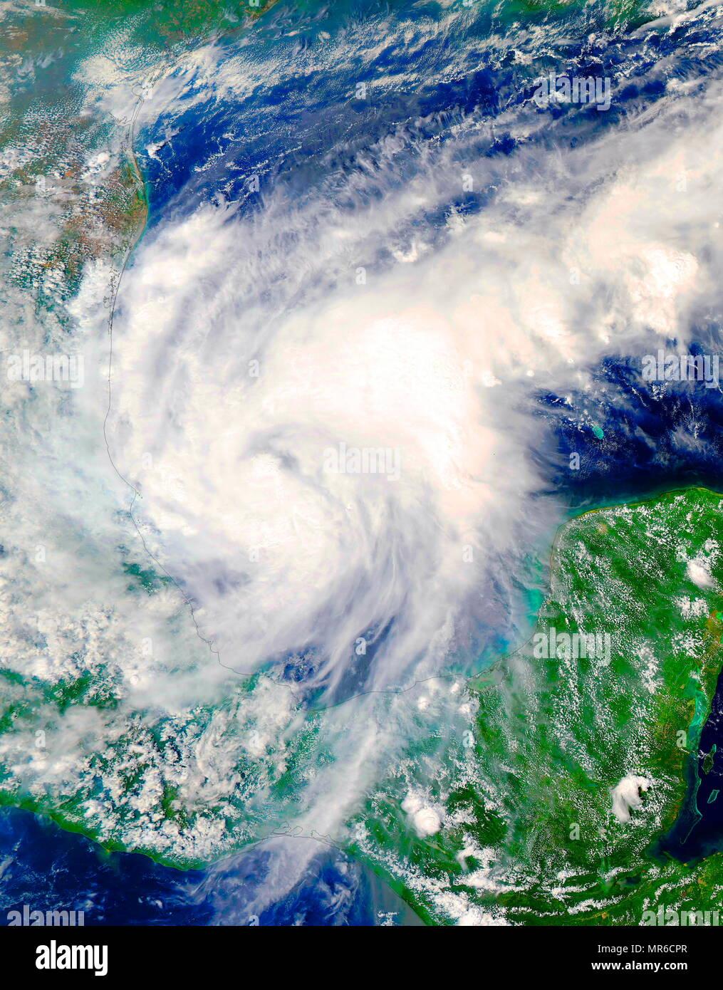 Die NASA-Satelliten Terra, erfasst ein sichtbares Licht Bild, des Hurrikans Katia, in der süd-westlichen Golf von Mexiko. September 2017 Stockbild