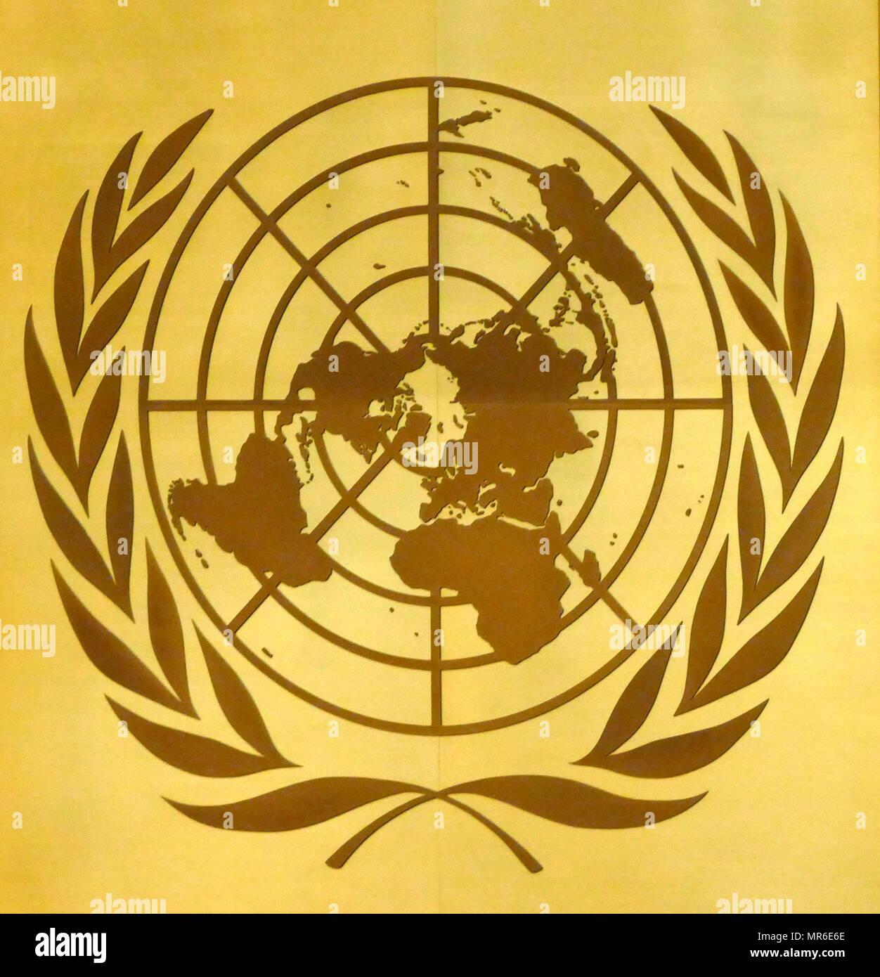UN-Emblem im Hauptquartier der Vereinten Nationen in Genf, Schweiz Stockbild
