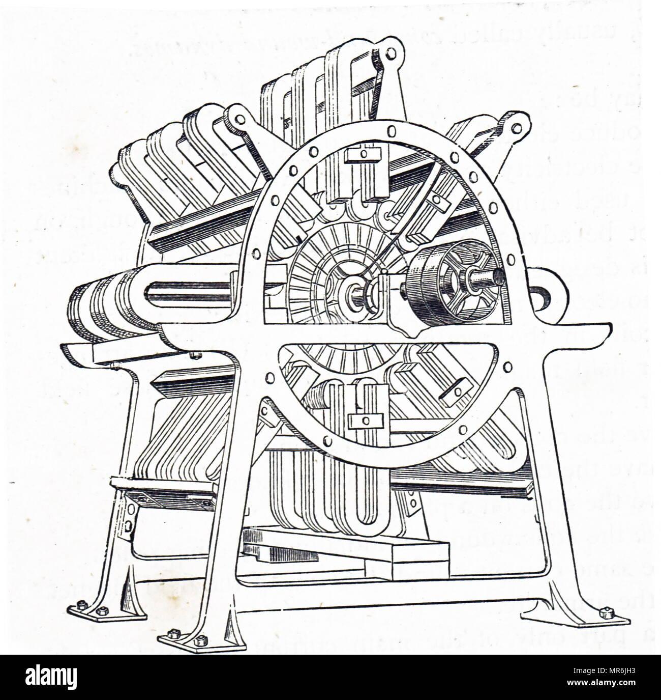 Kupferstich mit der Darstellung der Allianz Generator. Vom 19. Jahrhundert Stockbild