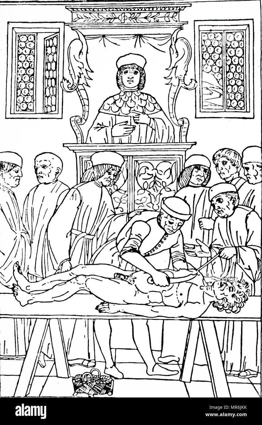 Holzschnitt Kupferstich von eine Anatomie Vorlesung in Padua. Der ...