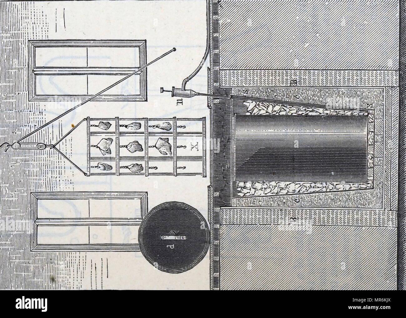 Kupferstich mit der Darstellung eines versunkenen Kühlhaus für eine Metzgerei. Eis wurde um ein Bügeleisen Tank: Pumpe, n verpackt, entfernt Wasser. Vom 19. Jahrhundert Stockbild