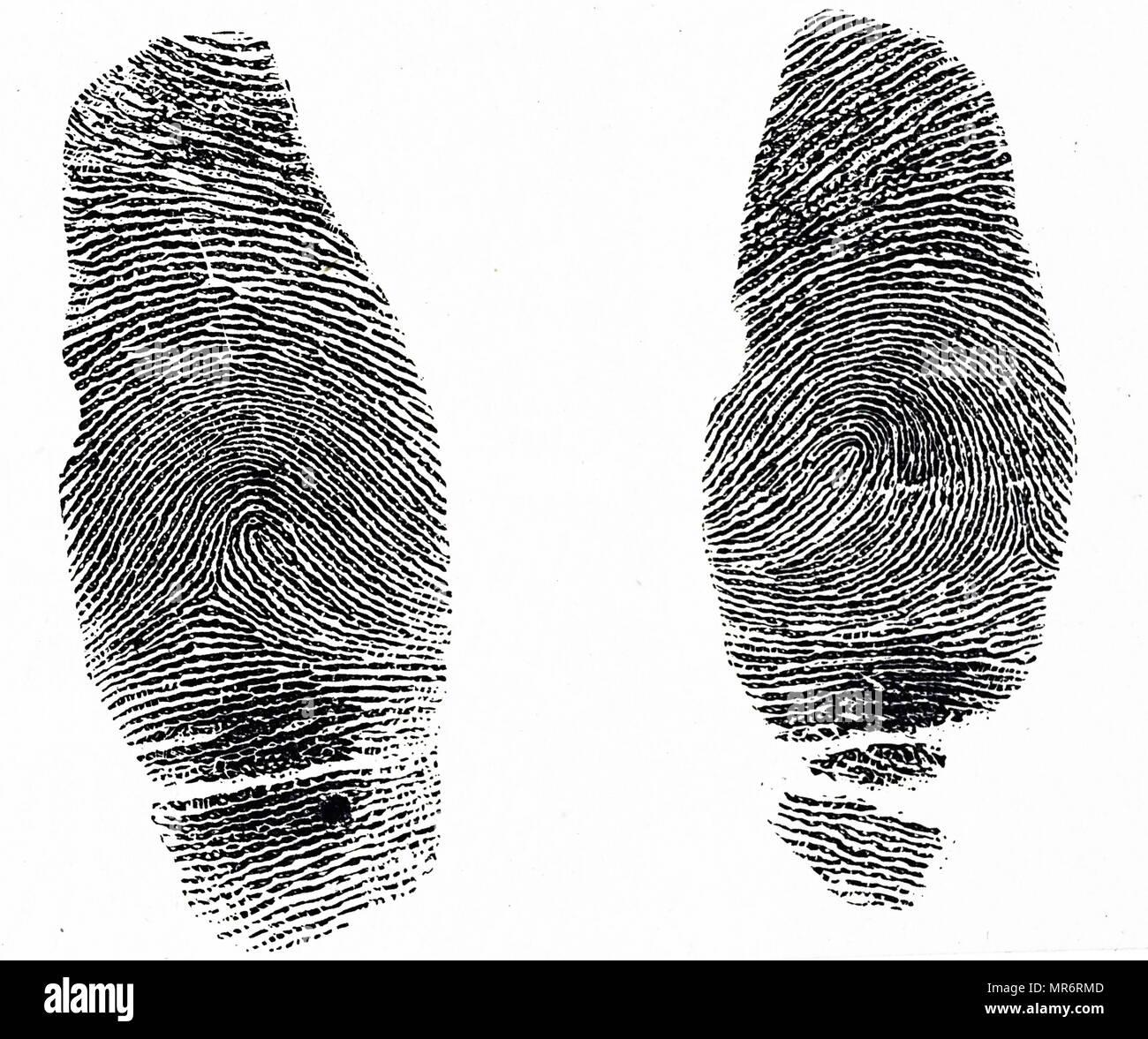 Zwei verschiedene Sätze von Daumen druckt. Gedruckt in China wurden verwendet, um Straftäter zu identifizieren, während die westlichen Polizei noch mit Fotografien waren. Vom 19. Jahrhundert Stockbild