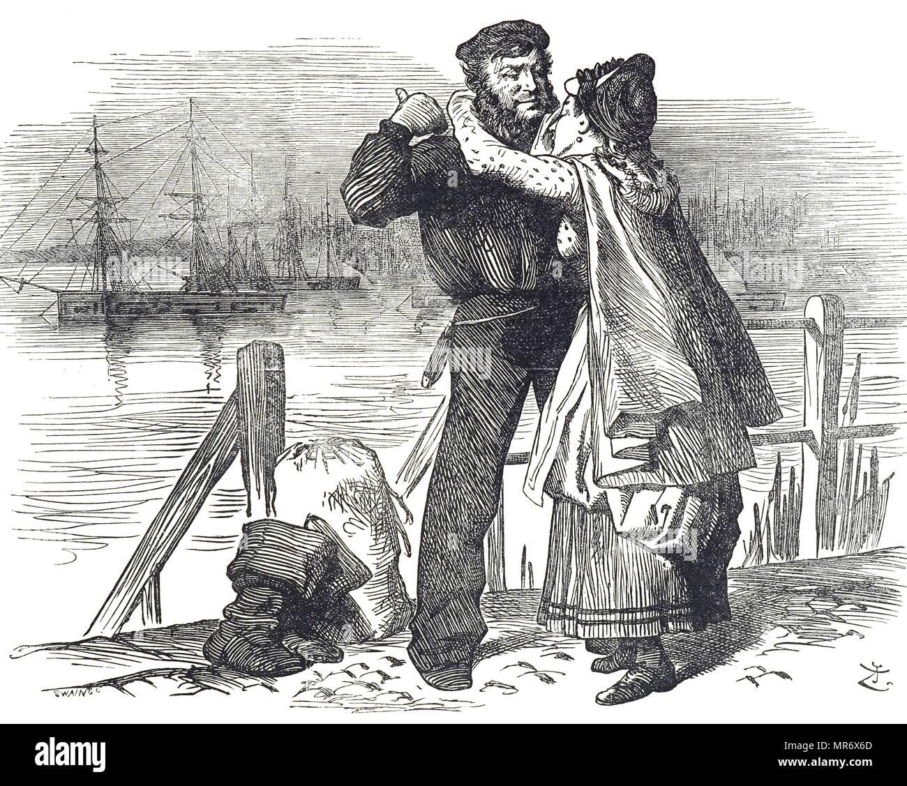 Für Segler Tribut an Samuel Plimsoll (1824-1898), ein englischer Politiker und Sozialreformer, für die Arbeit, die er während MP für Derby in die Rechtsvorschriften zur Regelung der Laden und seetüchtigkeit von Handelsschiffen. Es war für ihn, dass Plimsoll Line genannt wurde. Illustriert von John Tenniel (1820-1914) ein englischer Illustrator Grafik Humorist und politischen Karikaturisten. Vom 19. Jahrhundert Stockbild