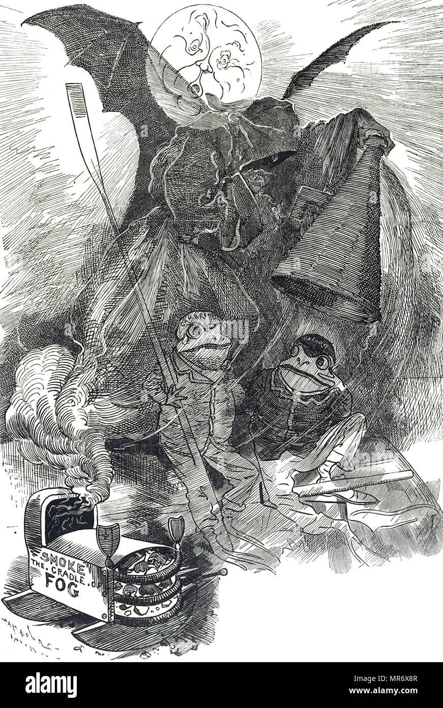 Cartoon mit der Darstellung eines Boat Race Londoner Nebel zum Opfer zu fallen. Vom 19. Jahrhundert Stockbild