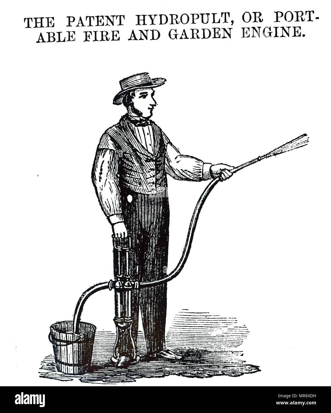 Gravur, eine tragbare Kübelspritze für die Verwendung als Feuerlöscher oder einen Garten sprühen. Vom 19. Jahrhundert Stockbild