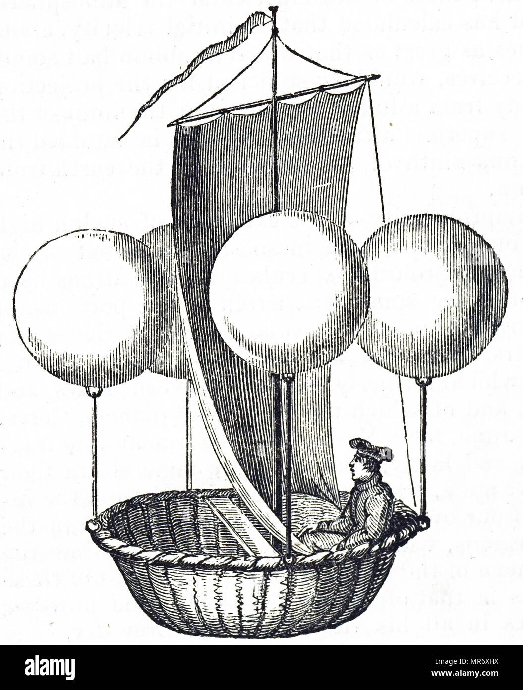 Gravur, Francesco Lana de Terzi's Flying boot Konzept. Francesco Lana de Terzi (1631-1687) ein italienischer Jesuit, Mathematiker, Naturwissenschaftler und Luftfahrt Pionier. Vom 19. Jahrhundert Stockbild