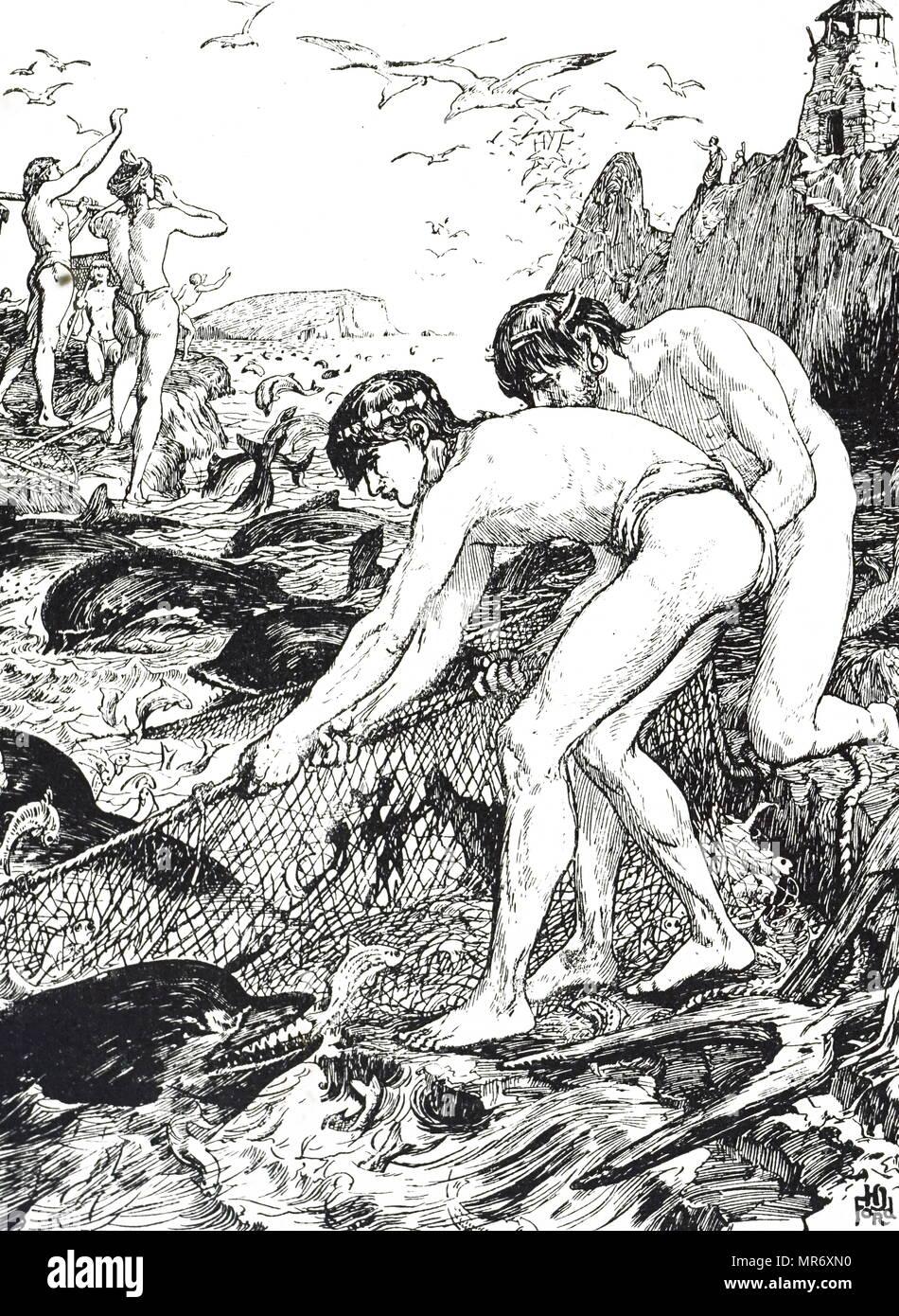 Quallen Abbildung: 1896 von Richard Lydekker. Quallen sind weiche Körper, frei-Schwimmen Wassertiere mit einer Gelatineartige regenschirm-förmige Bell und nachgestellte Tentakel Stockfoto