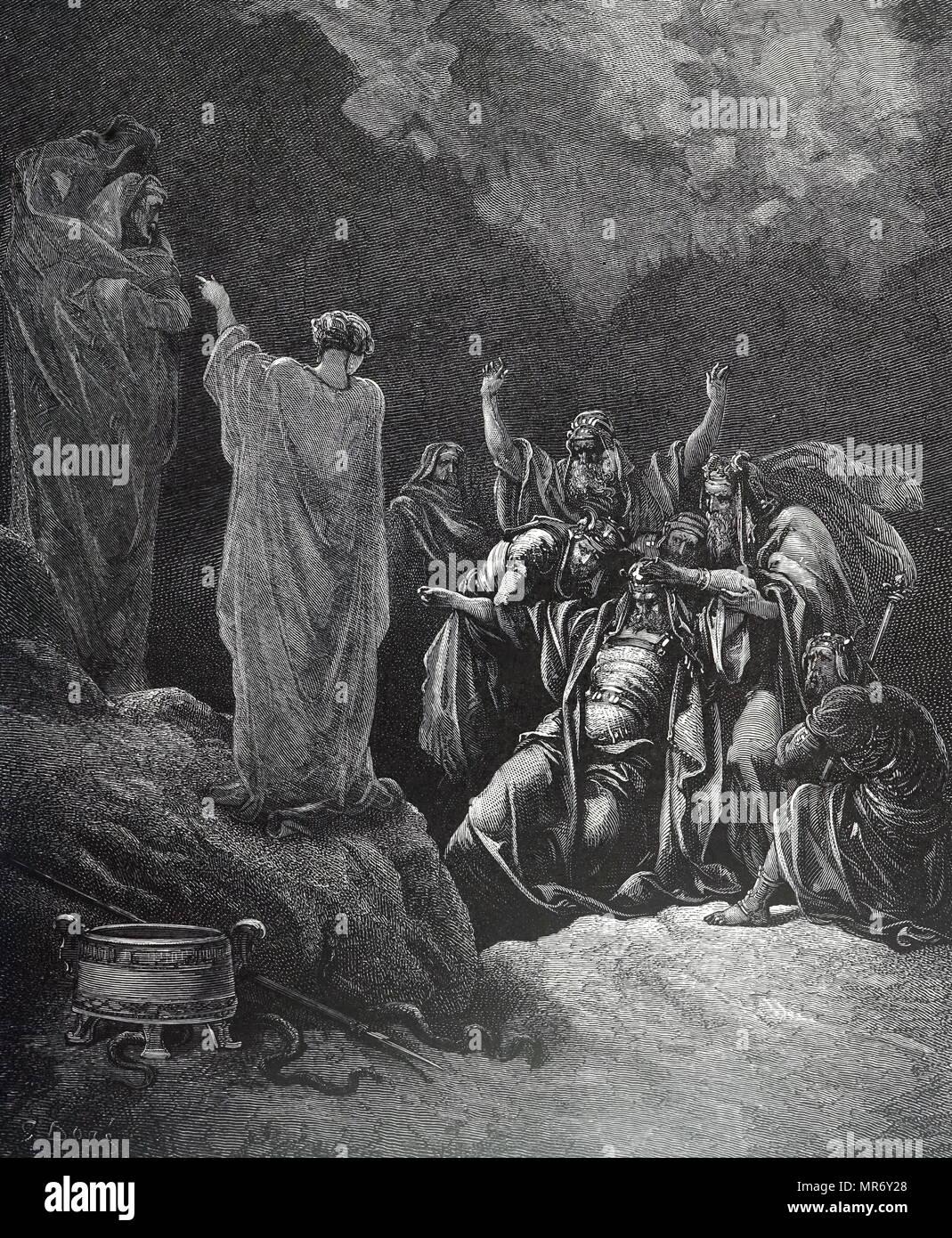 """Gravur mit Saul und die Hexe von Endor. Saul versucht mit den toten Samuel durch die Hexe von Endor zu kommunizieren. Sie bringt Samuel """"aus der Erde"""" (nekromantie) Saul hat versprochen, keine Maßnahmen gegen sie als Hexe. Vom 19. Jahrhundert Stockbild"""