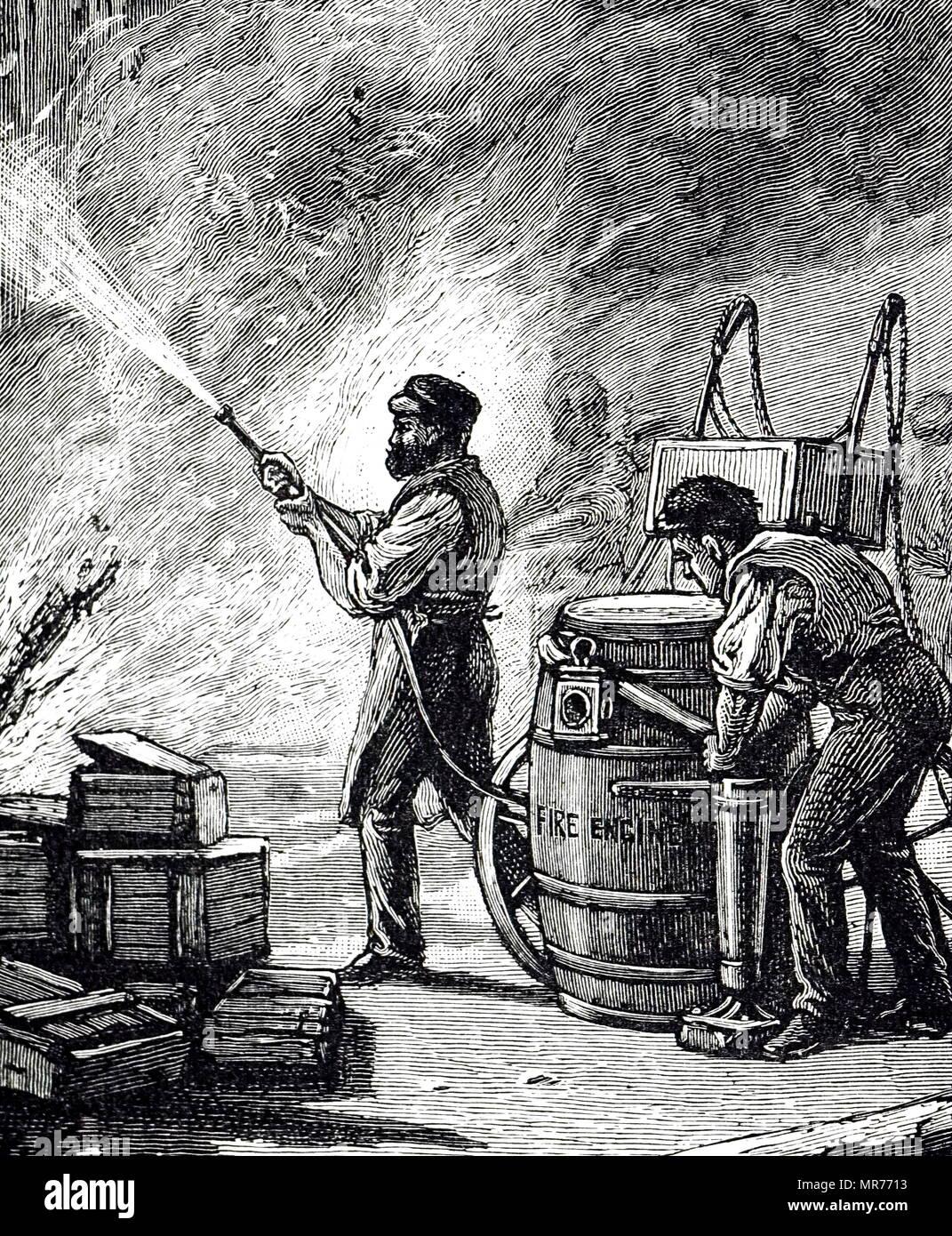 Kupferstich mit der Darstellung eines kleinen tragbaren Fire Engine, eine erste Ladung von 36 Gallonen Wasser, so dass es eine Flamme ohne Verzögerung an den Hydranten angeschlossenen, anzugreifen oder an Ort und Stelle befüllt. Die Entlastung für 6 Minuten und dann wieder aufgefüllt werden. Vom 19. Jahrhundert Stockbild