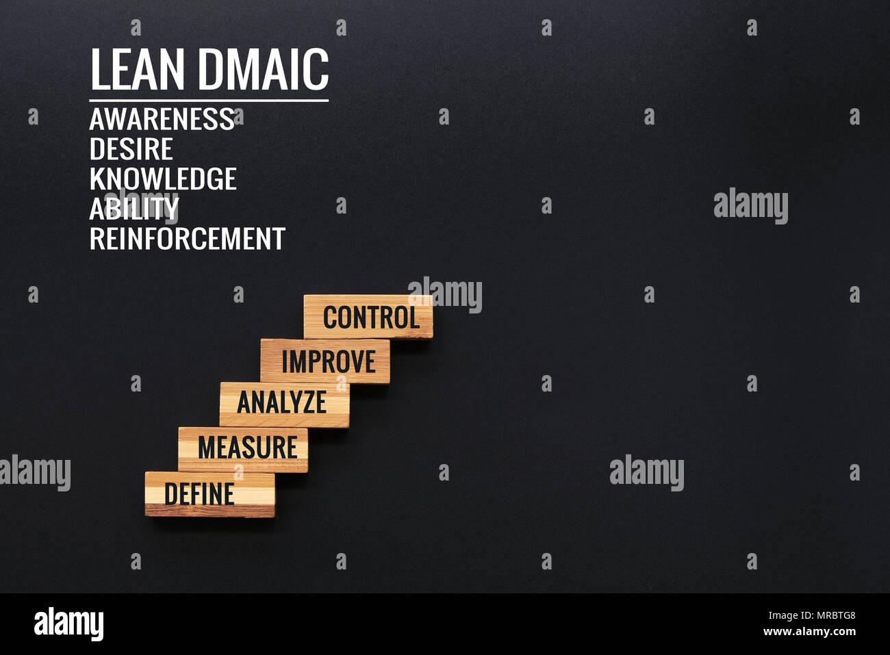Lean Dmaic Business Improvement Konzept Holz Schritt Mit Text