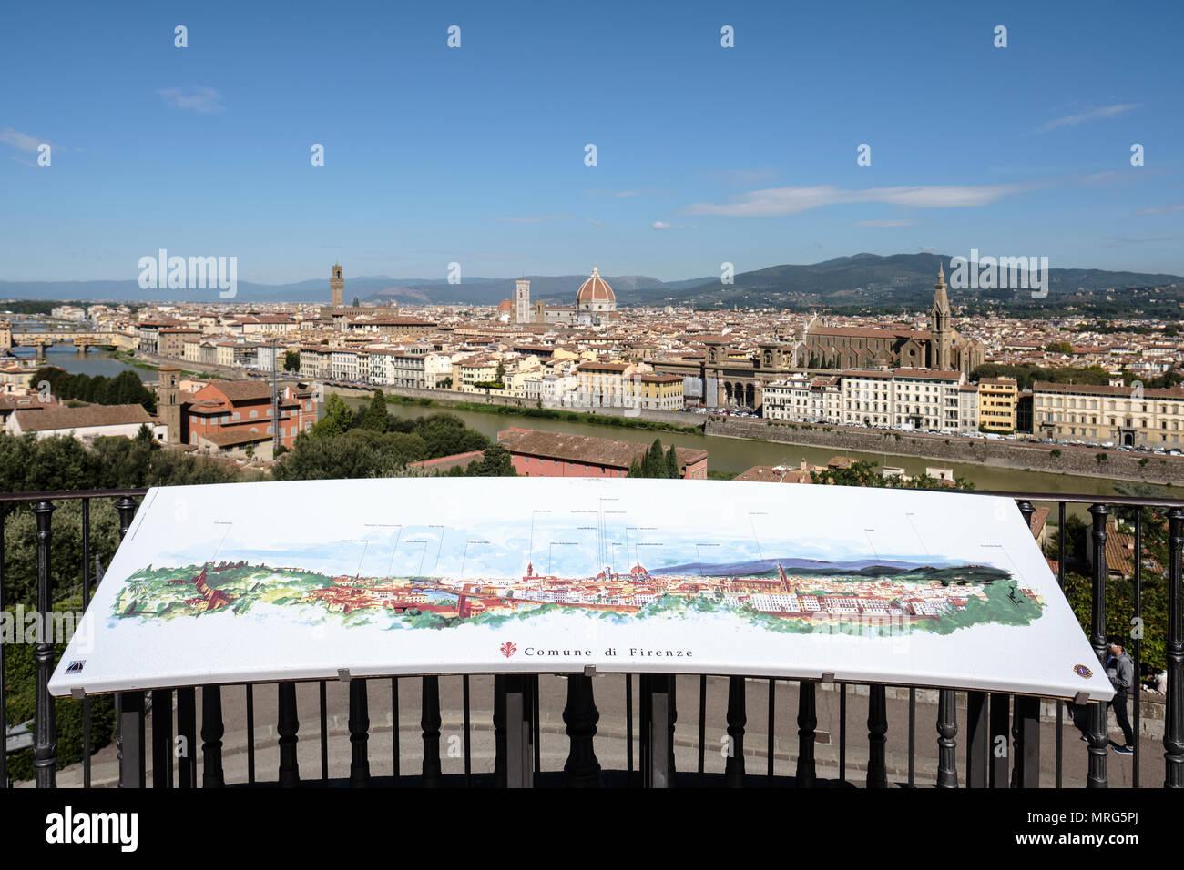 Malerei der Panoramablick auf Florenz von der Piazzale Michelangelo, Oltrarno, Florenz, Toskana, Italien, Europa, Stockbild