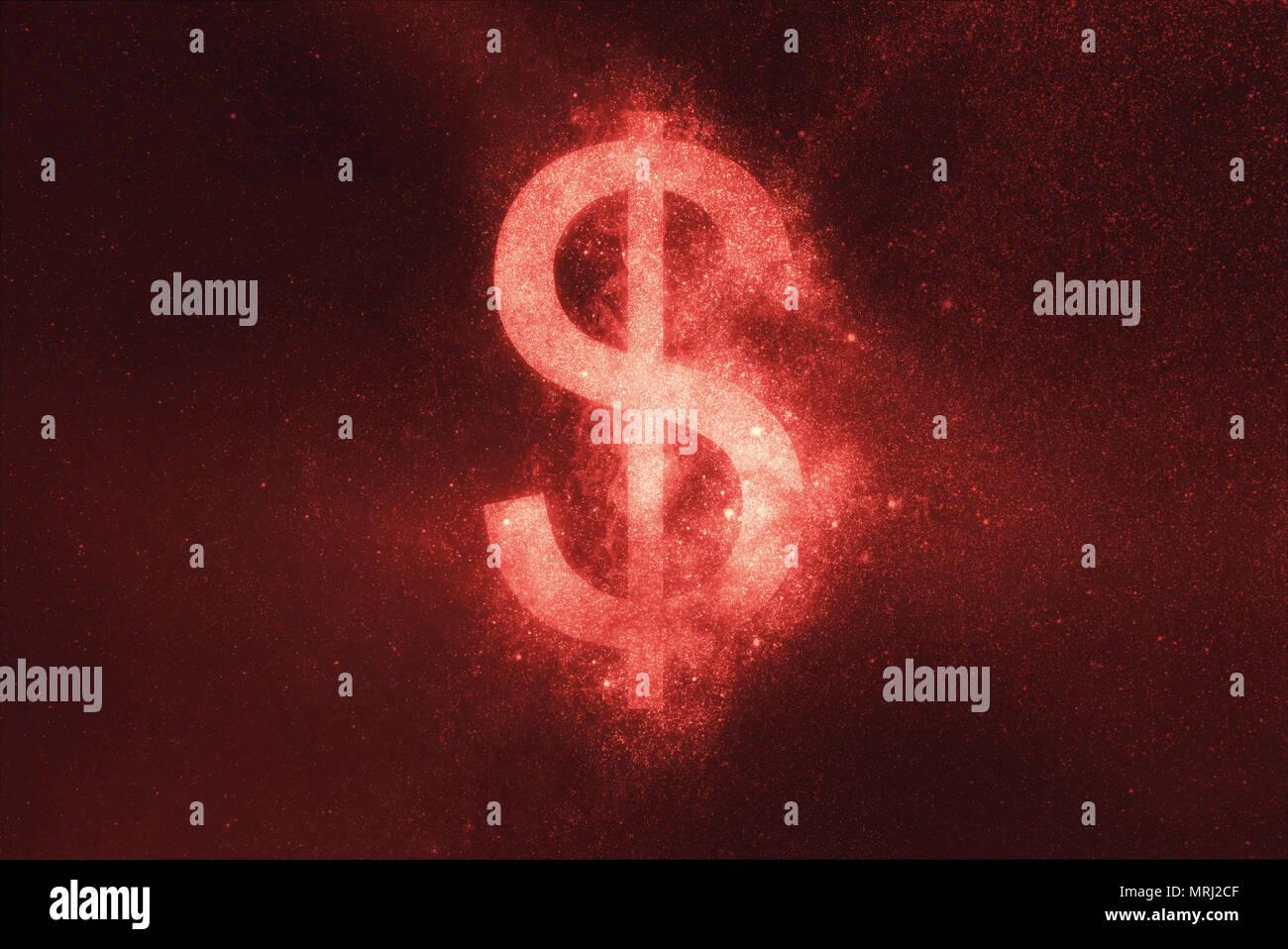 Dollarzeichen, Dollar, Symbol. Abstrakte Nacht Himmel Hintergrund Stockbild