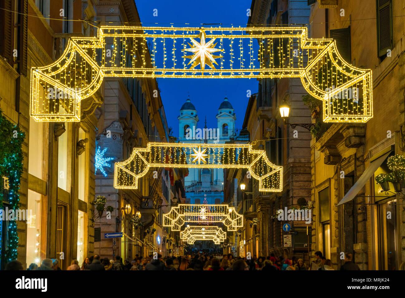 Die Via Condotti und die Piazza di Spagna. Weihnachten in Rom ...