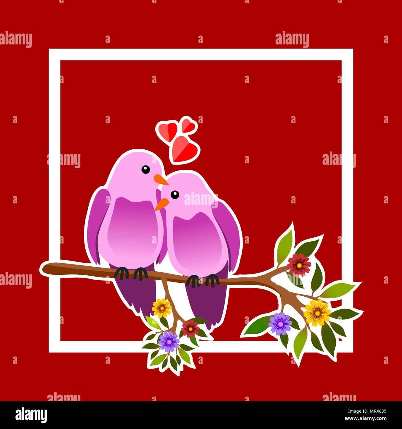 Blumen Rahmen mit zwei leidenschaftliche Vögel auf einem Ast. Vector ...