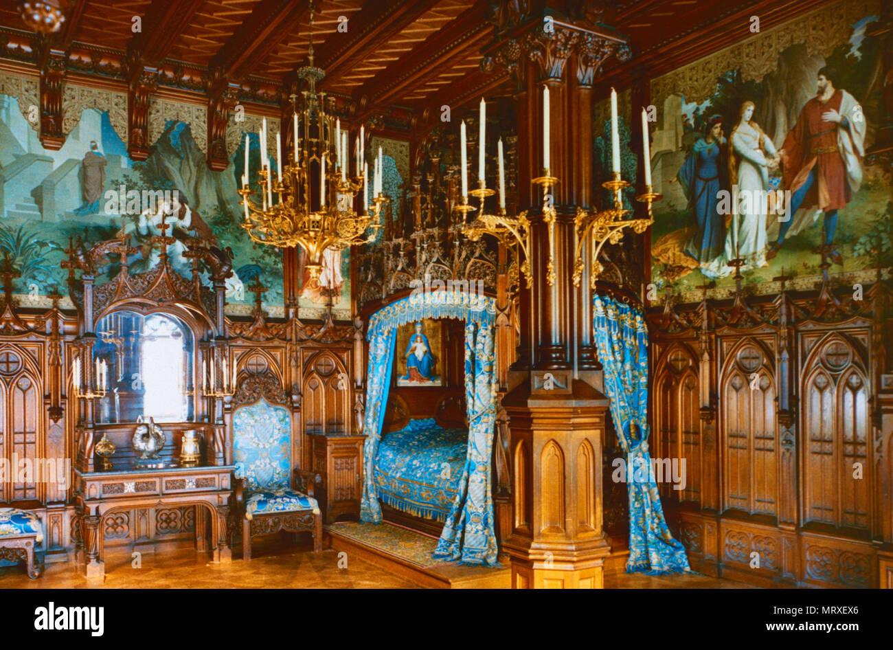 Schlafzimmer, Neuschwanstein, Bayern, Deutschland Stockfoto, Bild ...