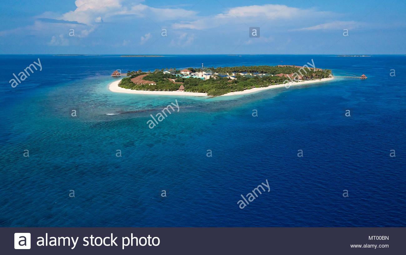Malediven, Insel, Luftbild | Malediven, Insel, Luftaufnahme Stockbild