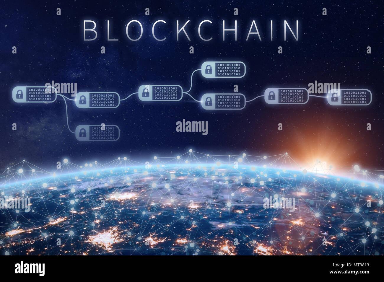 Finanzielle blockchain Technologie Konzept mit Netzwerk verschlüsselter Kette der Transaktion zu blockieren um Planet Erde, cryptocurrency Ledger (Bitcoi verbunden Stockbild