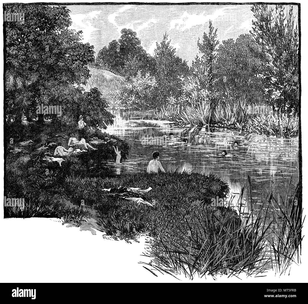 Baden fluss nackt im Fließgewässer: Baden