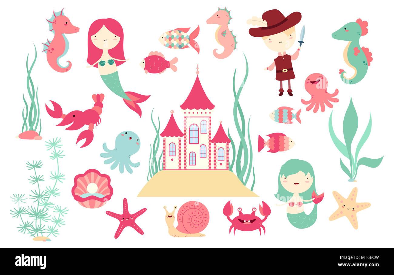 Satz von cute fairy-tale Zeichen - Meerjungfrau, Fisch, Tintenfisch ...