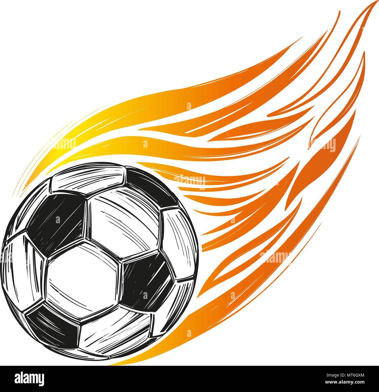Fussball Fussball Flamme Sport Spiel Emblem Zeichen Hand
