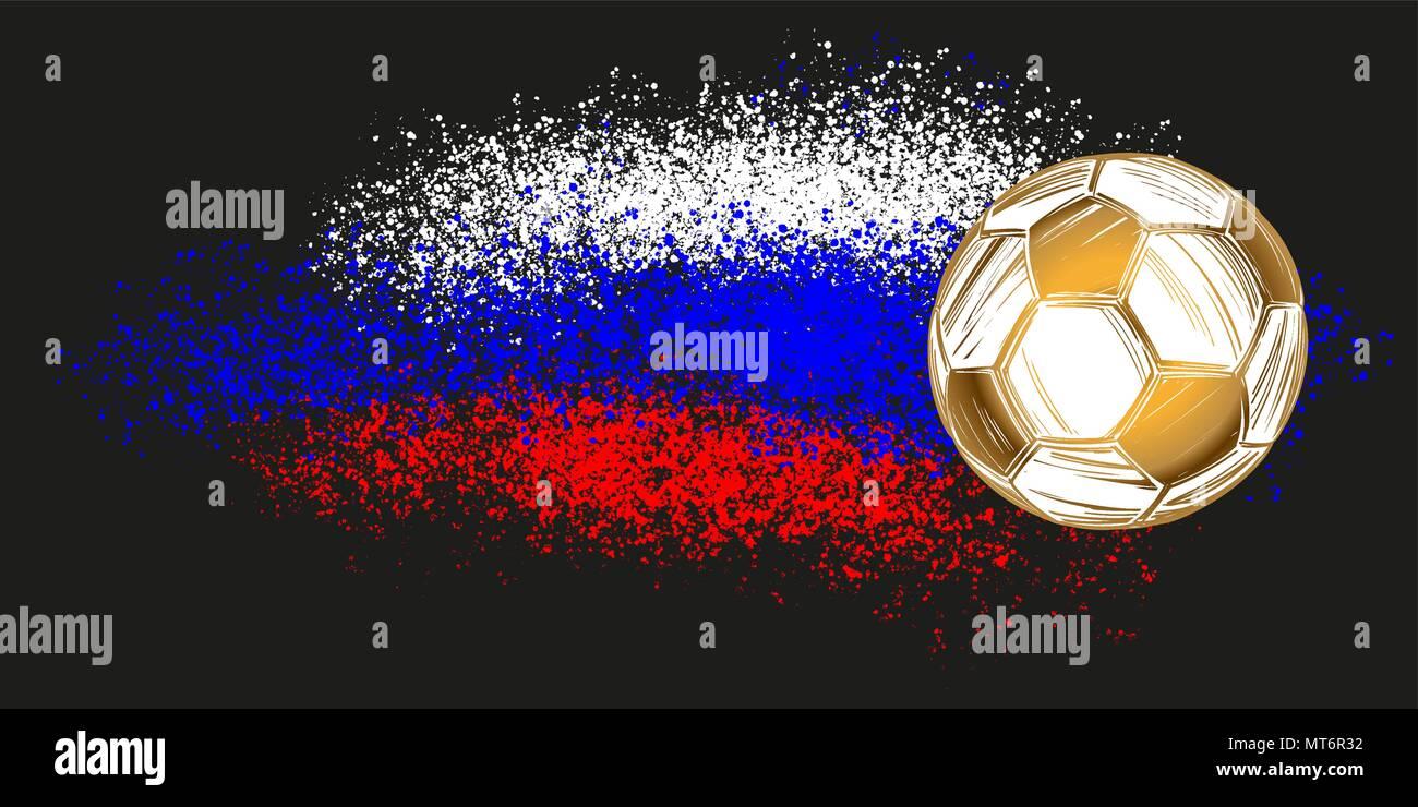 Fussball Fussball Russische Fahne Sport Spiel Emblem Hand