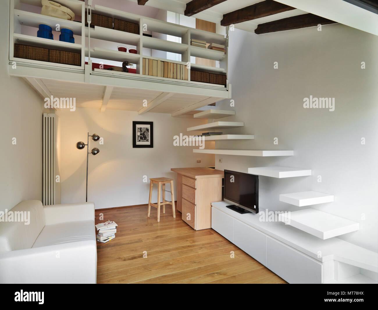 Fußboden Im Wohnbereich ~ Wohnzimmer mit treppe und loft der fußboden parkettboden gemacht