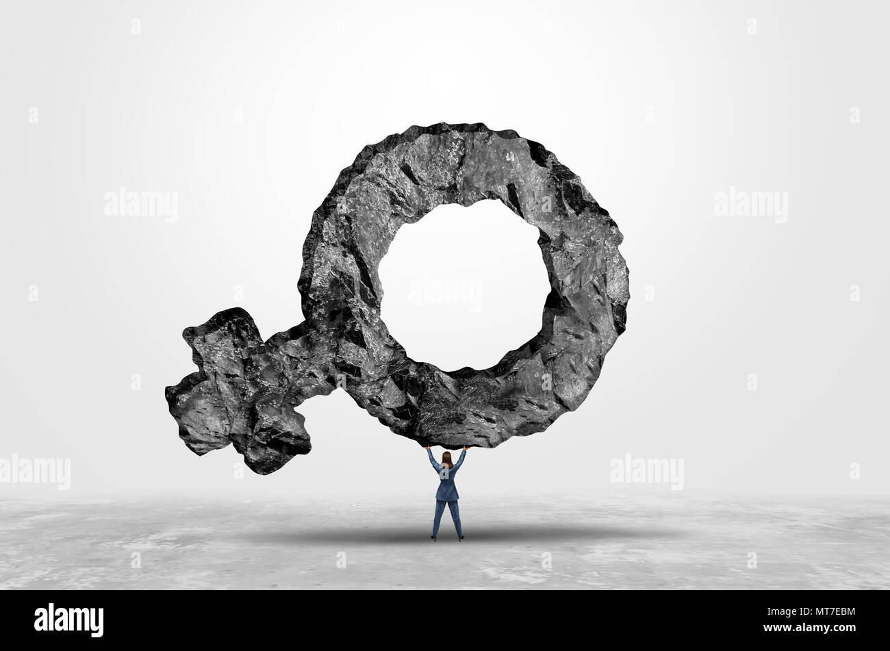 Frauen Power und Feminismus Mut als Frau heben ein weibliches Symbol in einer 3D-Darstellung. Stockbild