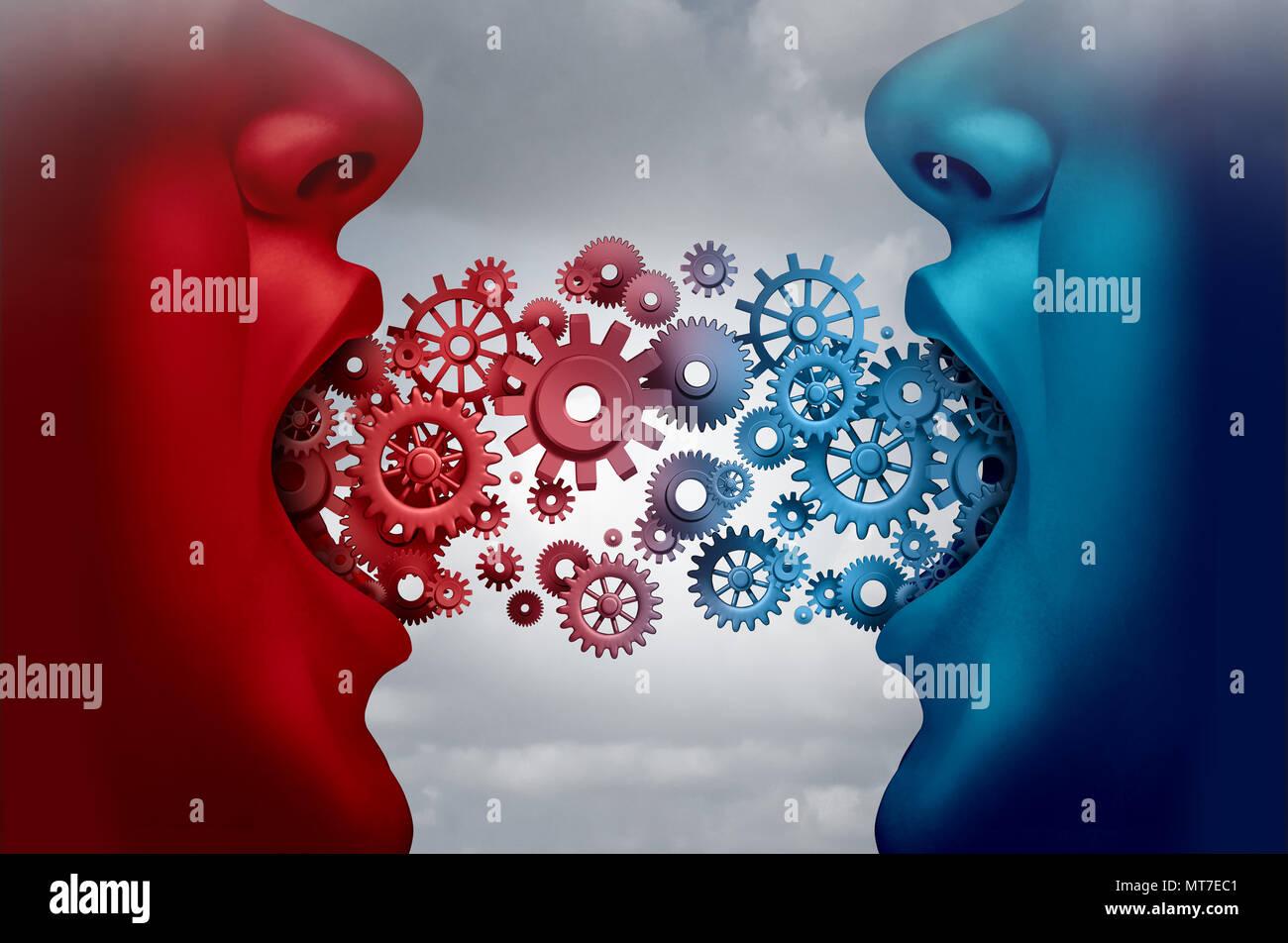 Kommunikation ist das Konzept und die Vereinbarung als zwei Unternehmen Partner in einem Austausch mit witchblade Räder mit 3-D-Abbildung Elemente. Stockbild