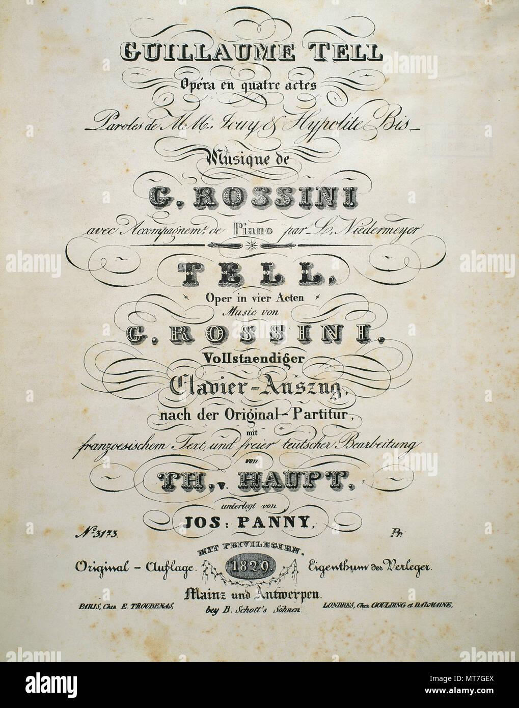 """Gioachino Rossini (Pesaro, 1792 - Paris, 1868). Italienischer Komponist. Abdeckung der Noten der """"Wilhelm Tell"""". Französische Oper in vier Akten. Premiere im Jahr 1829. Stockbild"""