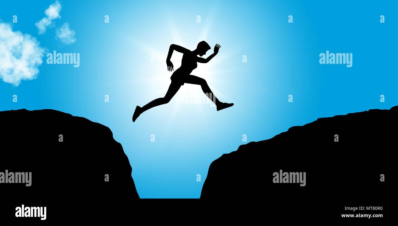 Fitness Person springt zwischen den Felsen als Konzept Bild für Mut und Erfolg Stockbild