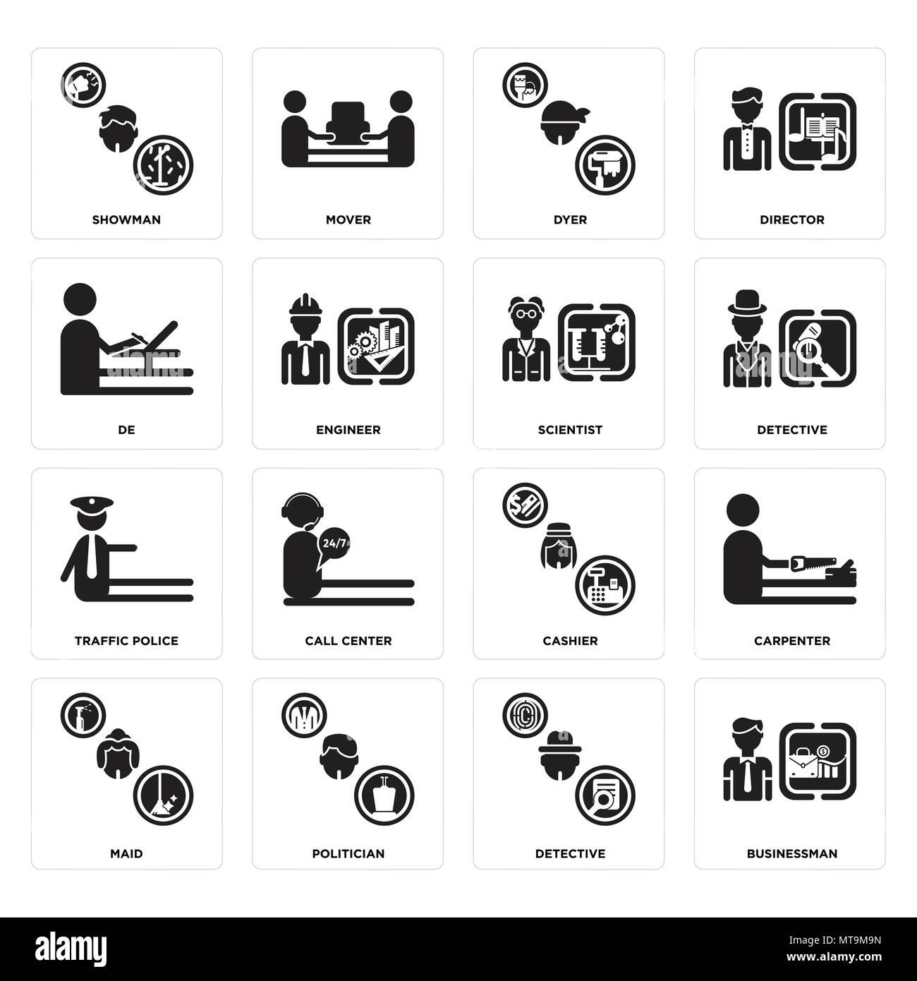 16 Einfache editierbare Ikonen wie Geschäftsmann, Detektiv, Politiker, Zimmermädchen, Tischler, Showman, De, Verkehrspolizei, Wissenschaftler kann für Mo verwendet werden. Stock Vektor