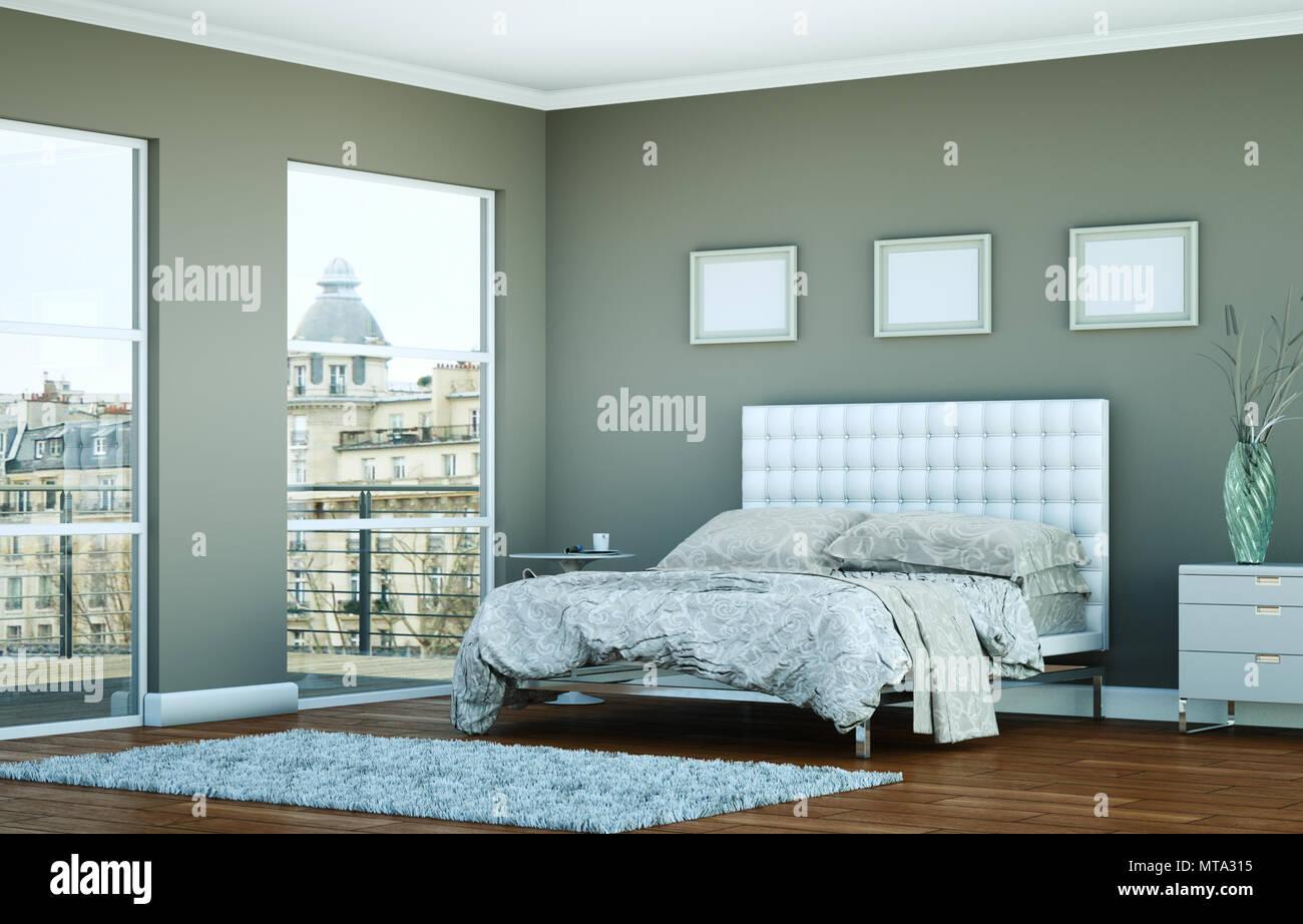 Modernes Schlafzimmer mit grauen Wand und moderne ...