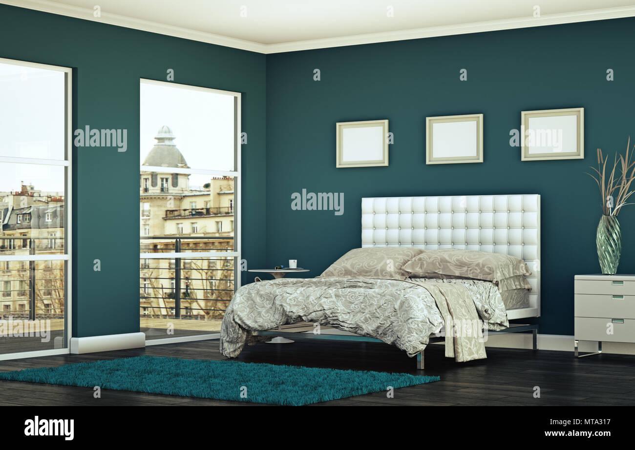 Modernes Schlafzimmer mit blauen Wand und moderne Einrichtung ...