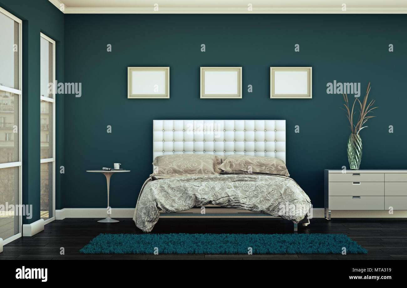 Modernes Schlafzimmer mit blauen Wand und moderne ...