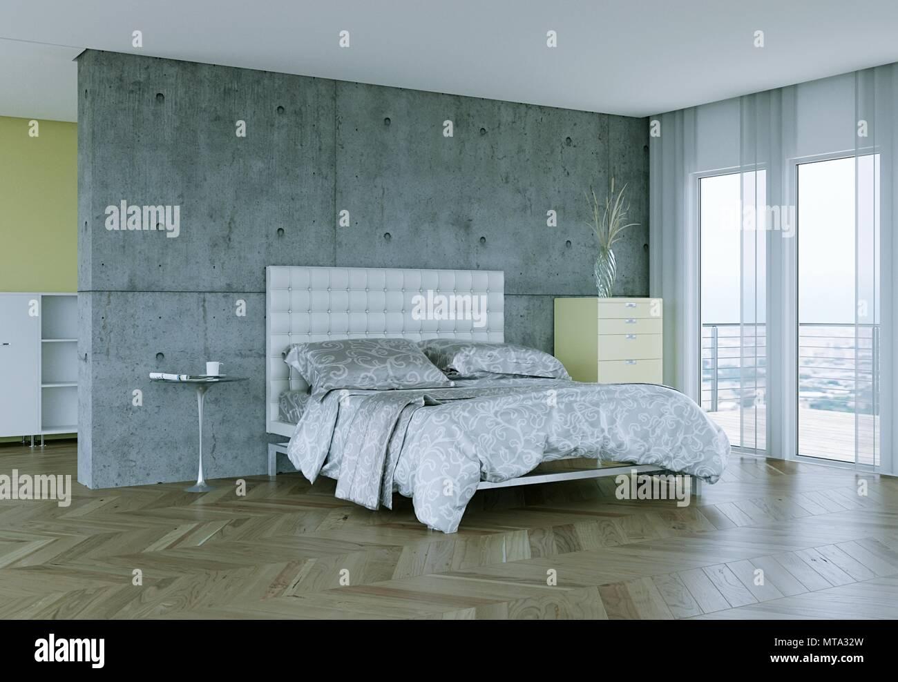 Modernes schlafzimmer mit beton wand und moderne einrichtung