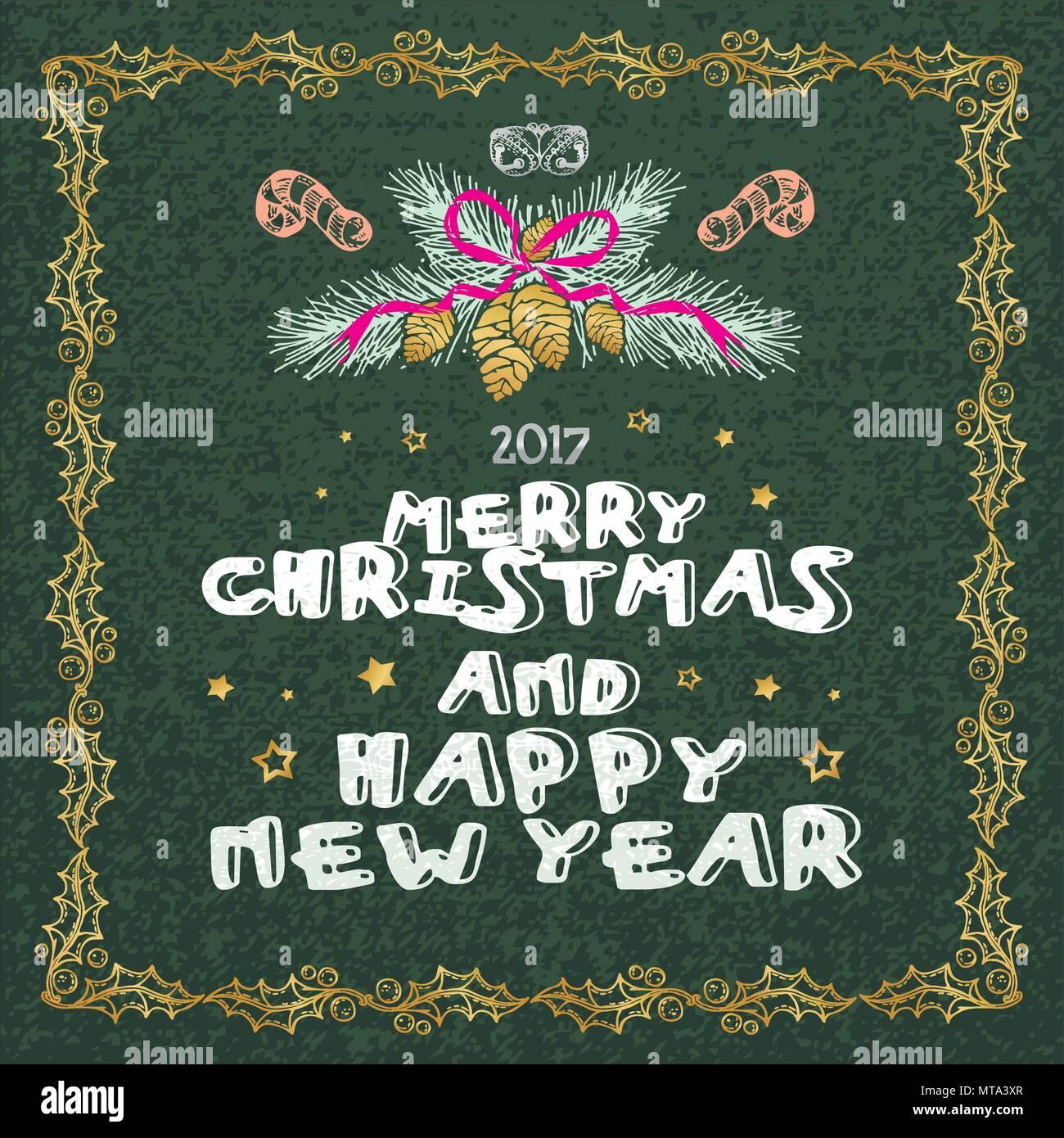 Frohe Weihnachten und guten Rutsch ins Neue Jahr Worte auf grünem ...
