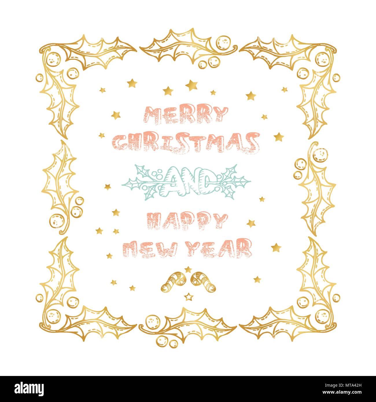 Frohe Weihnachten und guten Rutsch ins Neue Jahr Worte auf weißem ...