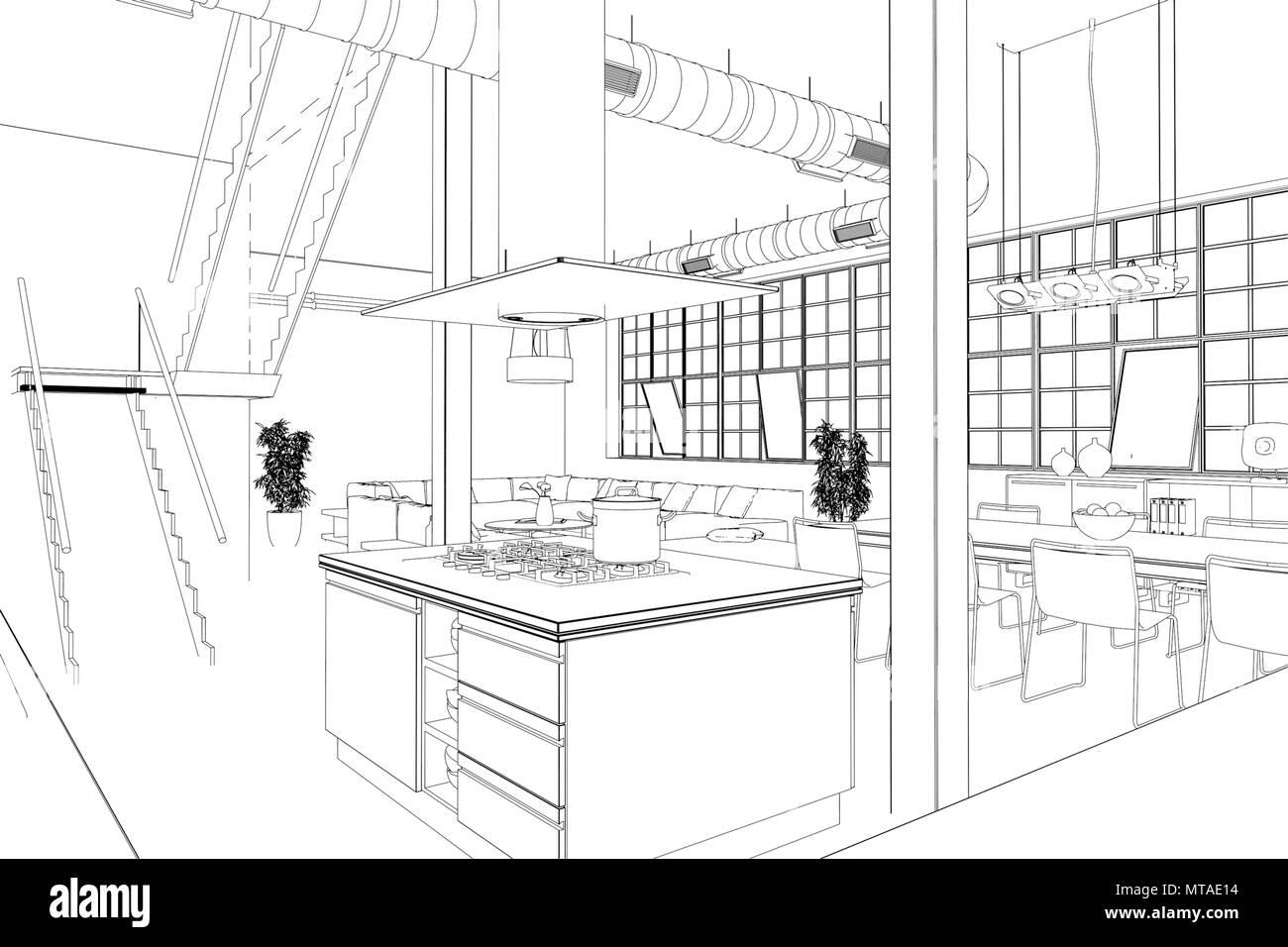 Innenarchitektur Loft Küche benutzerdefiniertes Zeichnen ...