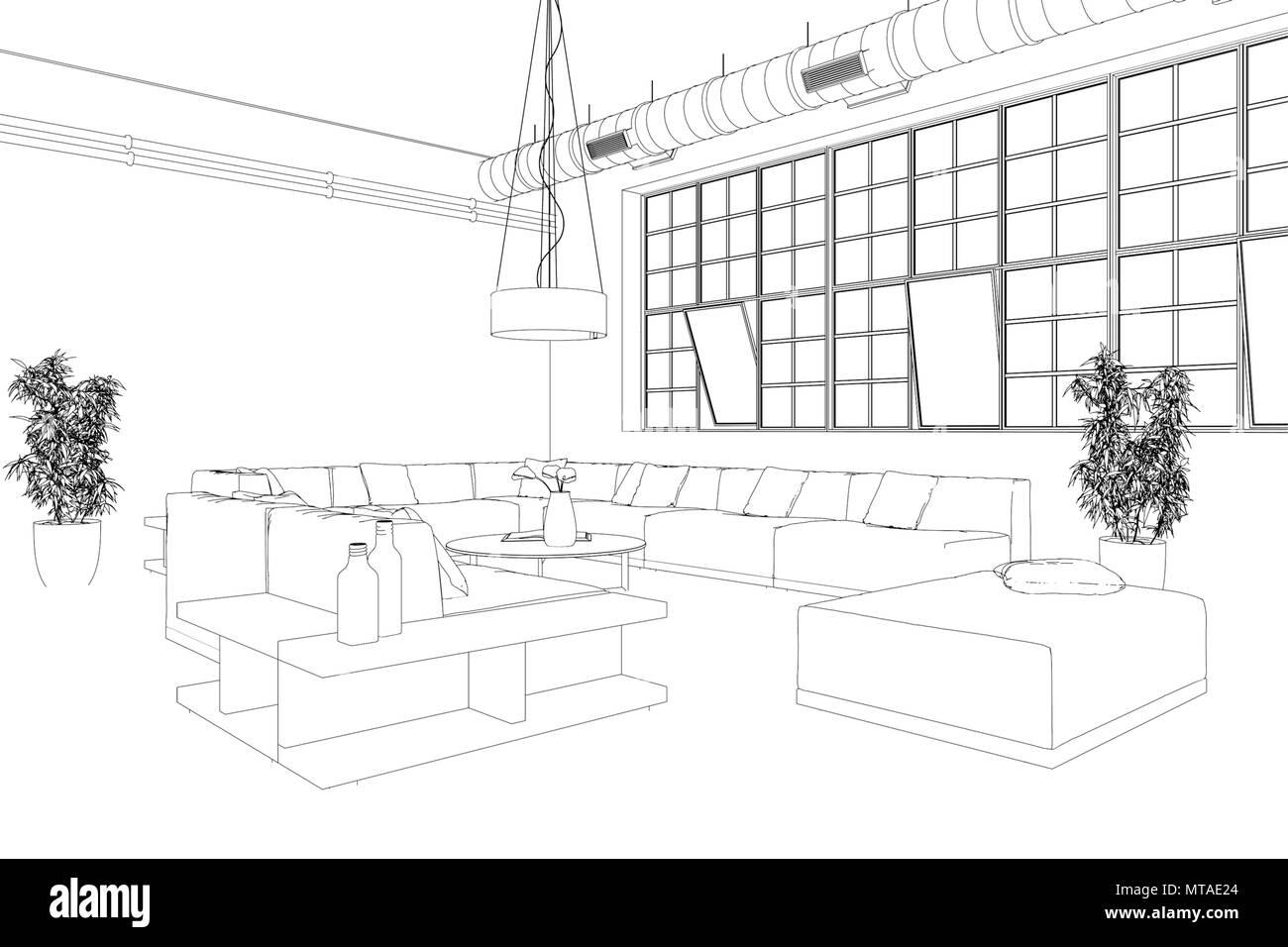Innenarchitektur Loft benutzerdefiniertes Zeichnen Stockfotografie ...